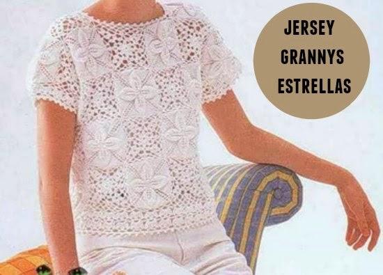 jersey, grannys, crochet, estrellas