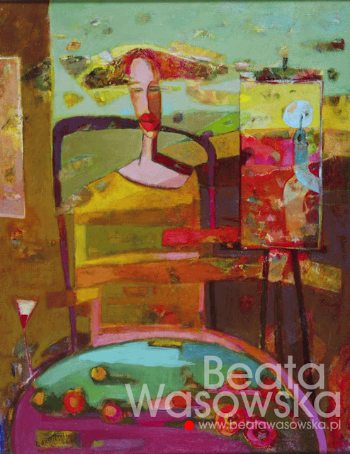 "Beata Wąsowska, ""Malarka"",  90x70 cm, olej na płótnie, nr kat. 21-98"
