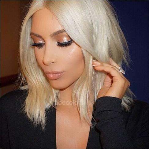 Kim Kardashian 10A Human Hair Wigs Instock Blonde Color Straight & Wavy Bob Wigs-Price: $160.14