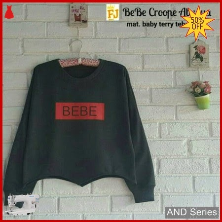 AND216 Sweater Wanita Bebe Crop Abu Tua BMGShop