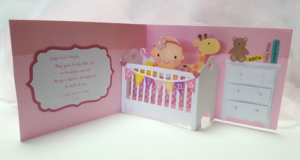 A Star For Chiemi: Baby Girl Pop Up Crib Card