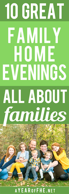 A Year of FHE // Here's a fantastic list of 10 Family Home Evening lesson plans that teach about families.  Our extended family, siblings, parents, ancestors, and everything in between! This includes one of my very favorite FHE lessons about Adoption. And these lessons will provide you with so many good ideas to inspire your family to be closer, more connected, and happy! #lds #family