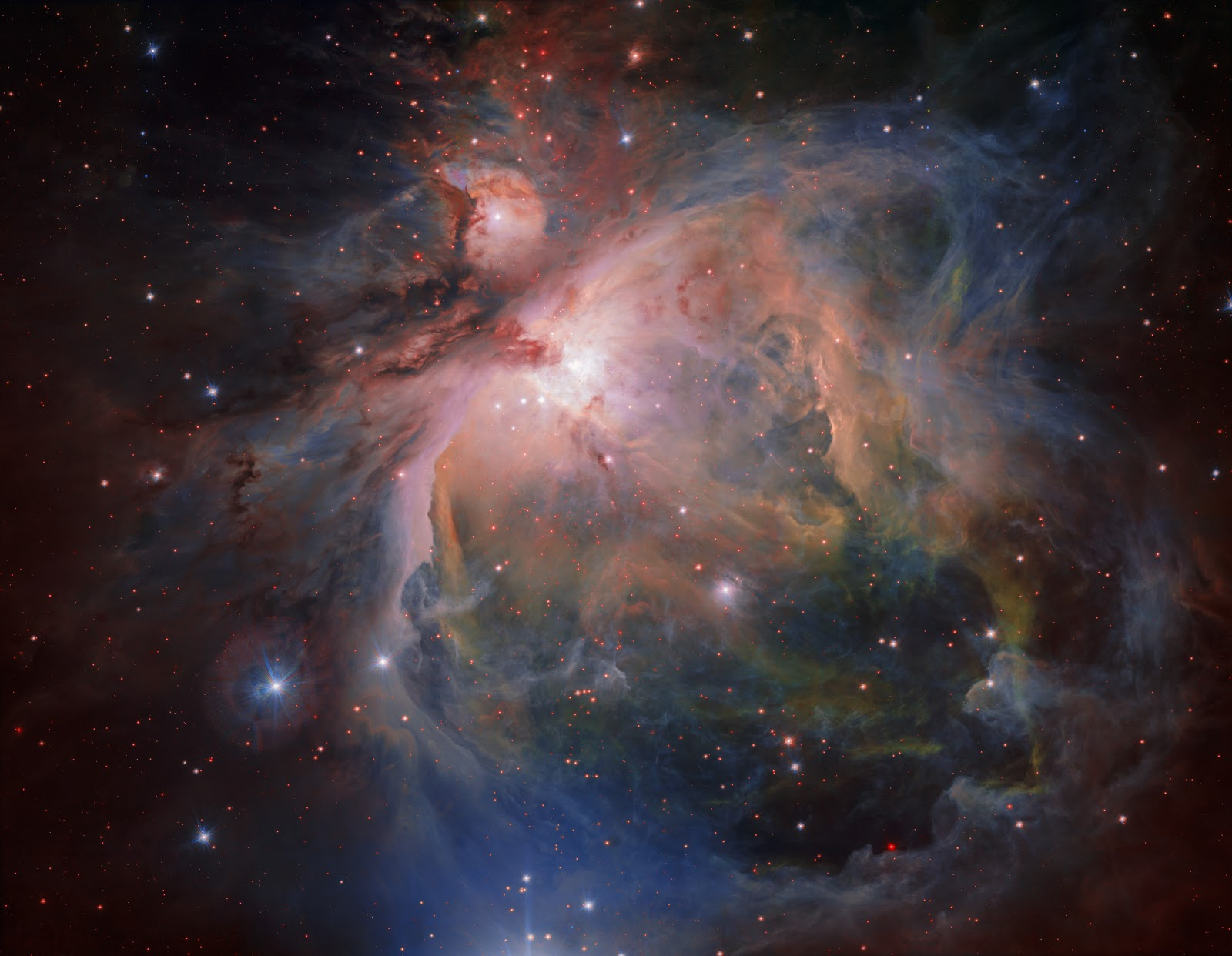 Image result for The Orion Nebula and its associated cluster of young stars are photographed by the European Southern Observatory, July 26, 2017.