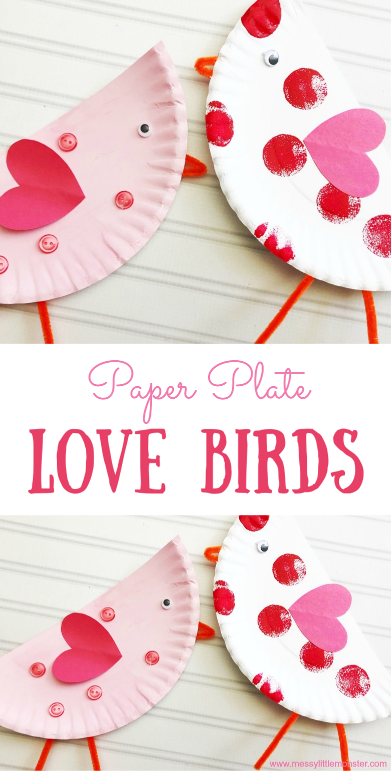 An easy paper plate craft for kids. Make a love birds craft as a fun Valentine's Day craft for kids.