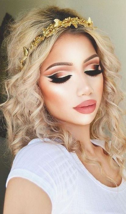 Gold and Brown Glittery Style with False Lashes