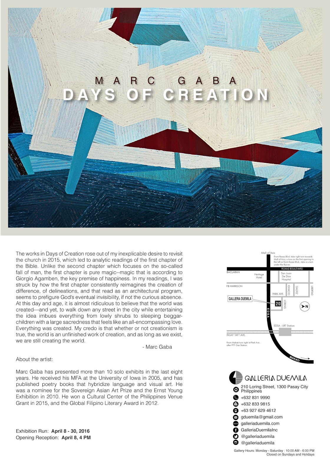 days of creation by marc gaba wazzup pilipinas news and events
