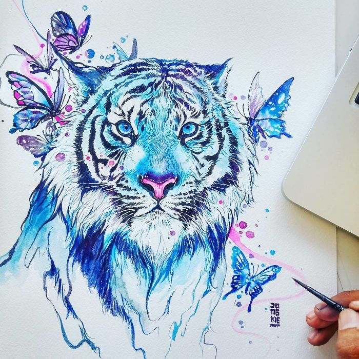 12-Tiger-and-Butterflies-Jongkie-art-Luqman-Reza-Mulyono-Vibrant-Fantasy-Watercolor-Animal-Paintings-www-designstack-co