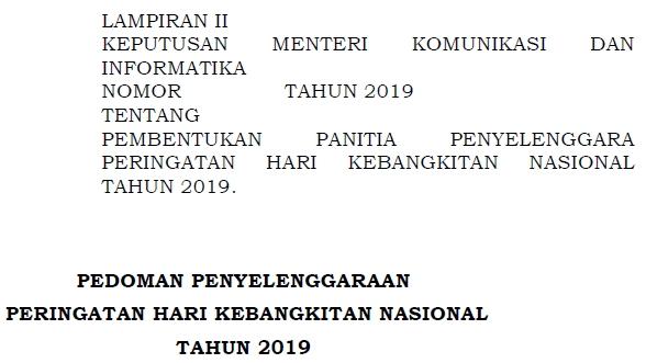 Pedoman Peringatan Hari Kebangkitan Nasional Tahun  Pedoman Peringatan Hari Kebangkitan Nasional 2019 (Juknis Harkitnas ke-111 Tahun 2019)
