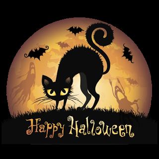 Happy Halloween horrible cat clipart 2016