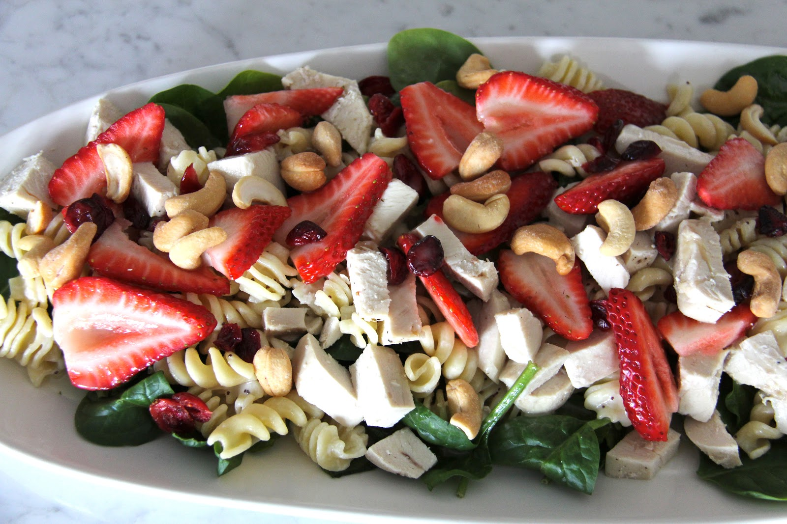 A Bountiful Kitchen Strawberry Spinach Pasta Salad With