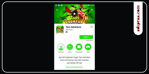 Aplikasi Taro Adventure | adipraa.com