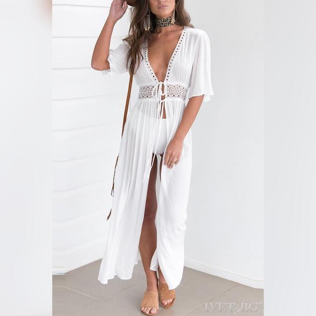 Μοντέρνο  άσπρο φόρεμα παραλίας VERONIKA