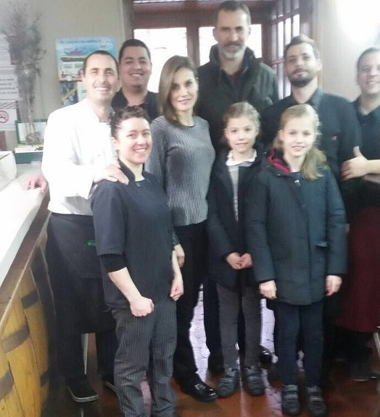 King Felipe, Queen Letizia, Princess Leonor and Infanta Sofia on holiday in Huesca region of Spain went to Las Tres Ranas Restaurant in Jaca