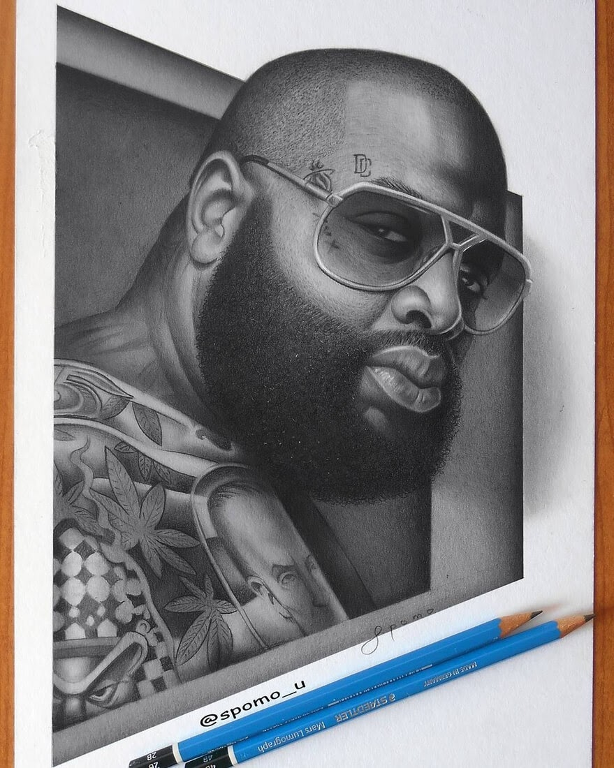 09-Rick Ross-Spomo-Ubiparipović-Black-and-White-Celebrity-Pencil-Portraits