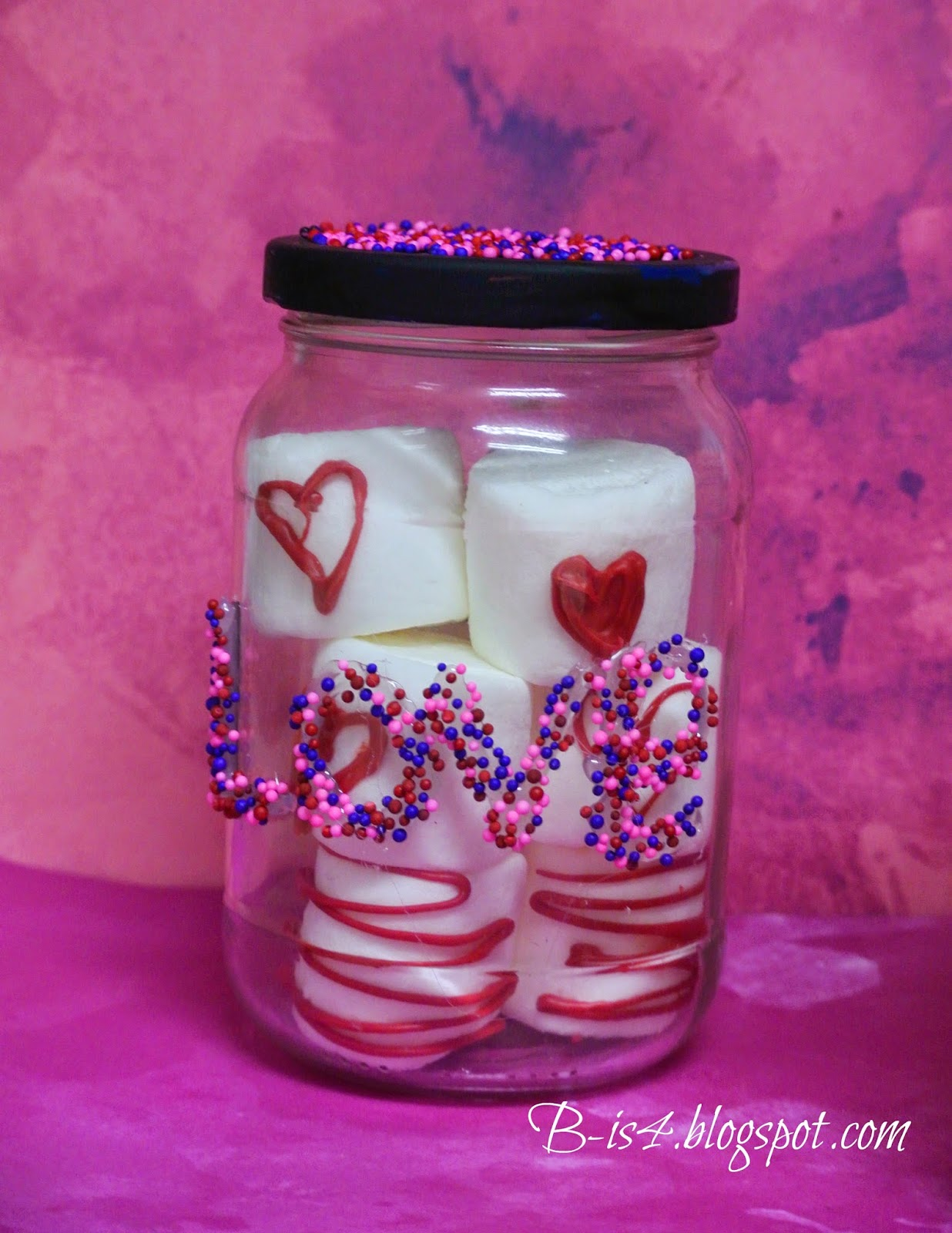 Recycle jars, marshmallows
