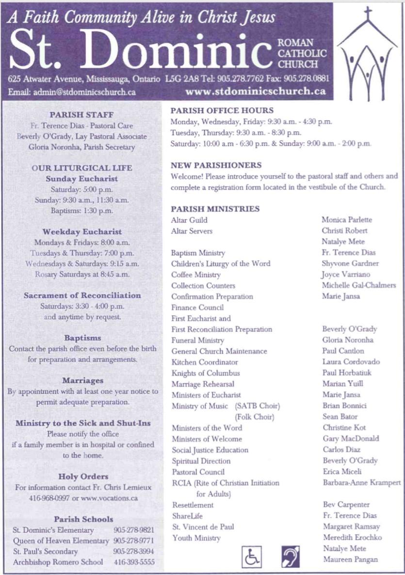 St Dominics Church Bulletins 2019