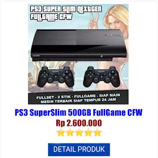 Jual Console (Konsol Game) Playstation PS3 SuperSlim 500GB FullGame CFW harga rental murah