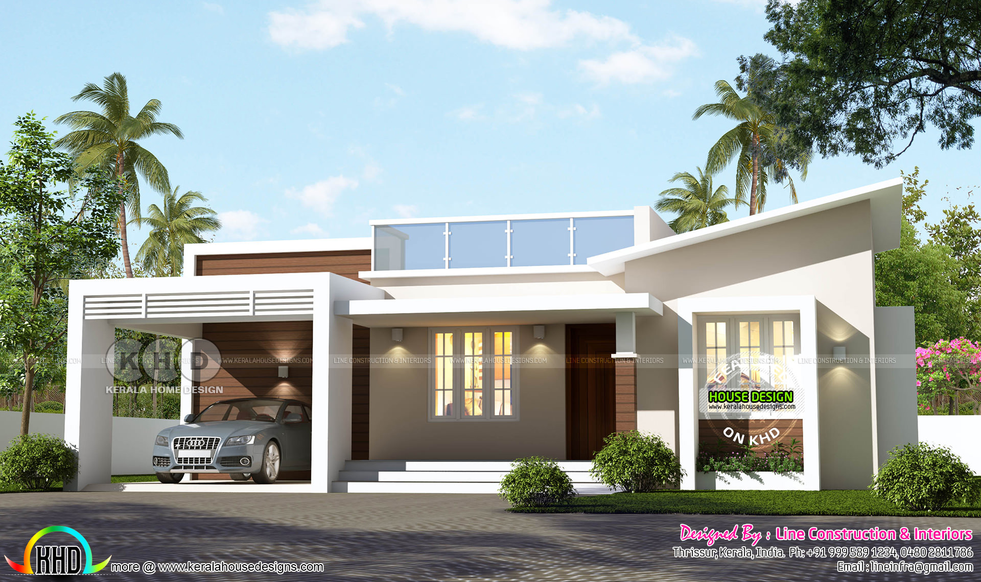 Single Floor 1150 Sq Ft Slanting Roof Mix Home Kerala