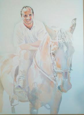 Proceso de retrato en acuarela de un caballo