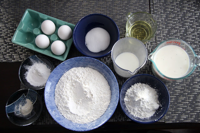 ingredients for the gluten free rice flour waffles