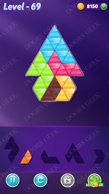 Block! Triangle Puzzle 5 Mania Level 69 Solution, Cheats, Walkthrough for Android, iPhone, iPad and iPod