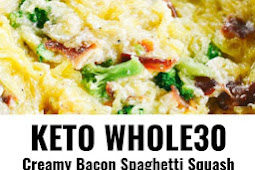 Keto Whole30 Creamy Bacon Garlic Spaghetti Squash
