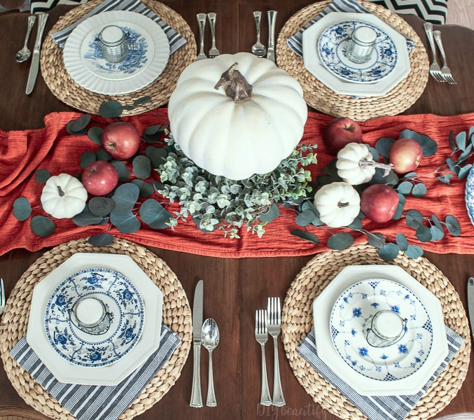 pumpkins, apples and vintage dishes