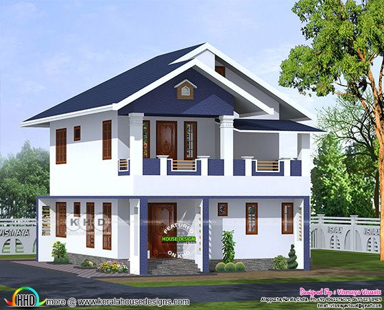 4 BHK sloped roof house architectcure
