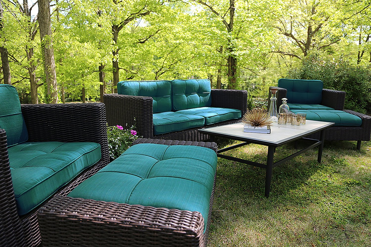 Ae outdoor 6 piece all weather wicker wright deep seating for Outdoor furniture fabric