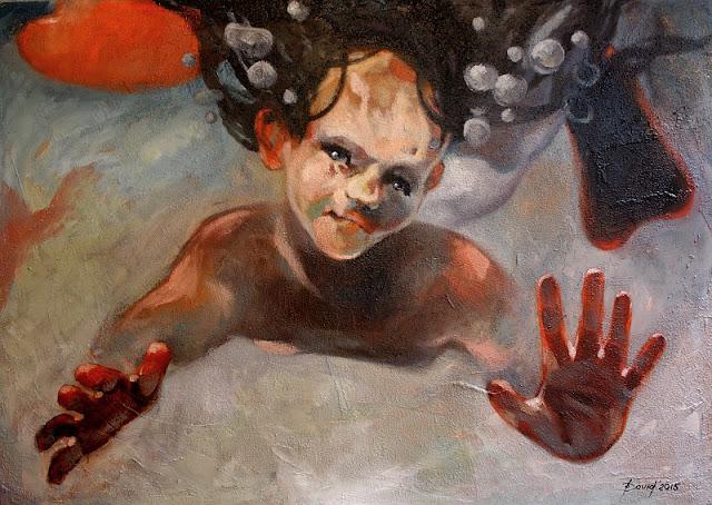 Ozean Bub Gemälde von Olga David Öl auf Leinwand
