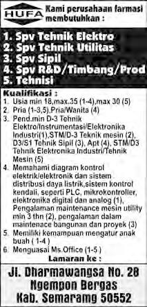 Lowongan farmasi Hufa Semarang