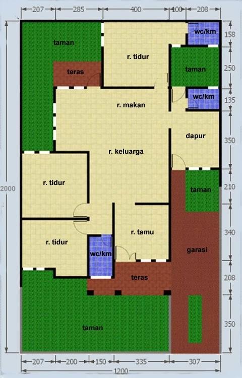 gambar denah rumah luas tanah 120 meter 3