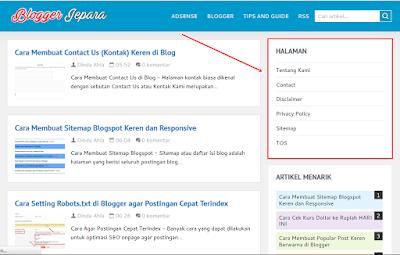 memasang halaman statis di blogspot blogger