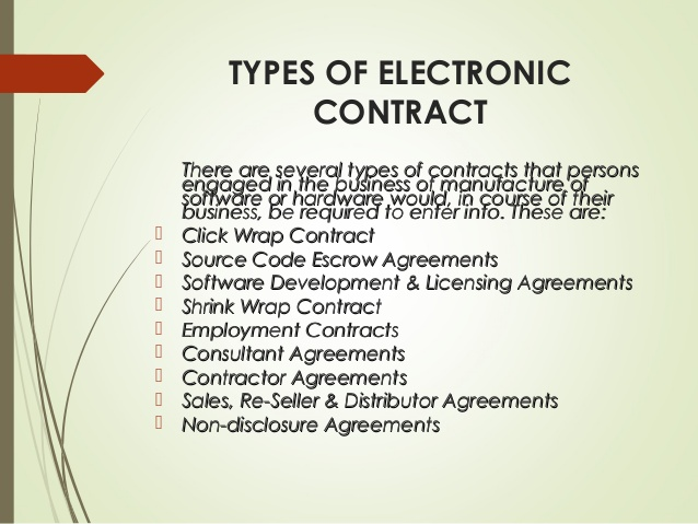 Types Of Electronic Contract  Information Technology Hindi Notes