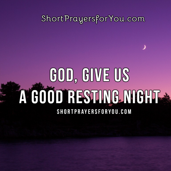 Short prayer, good night, free christian prayer for tonight, free christian card by Mery Bracho