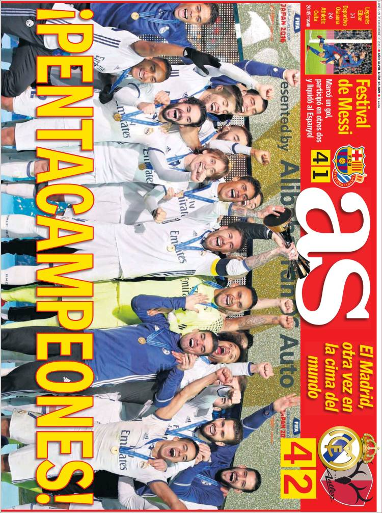 portada As real madrid campeón Mundial de clubes