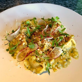 Roasted corn & ricotta agnolotti at Nine-Ten