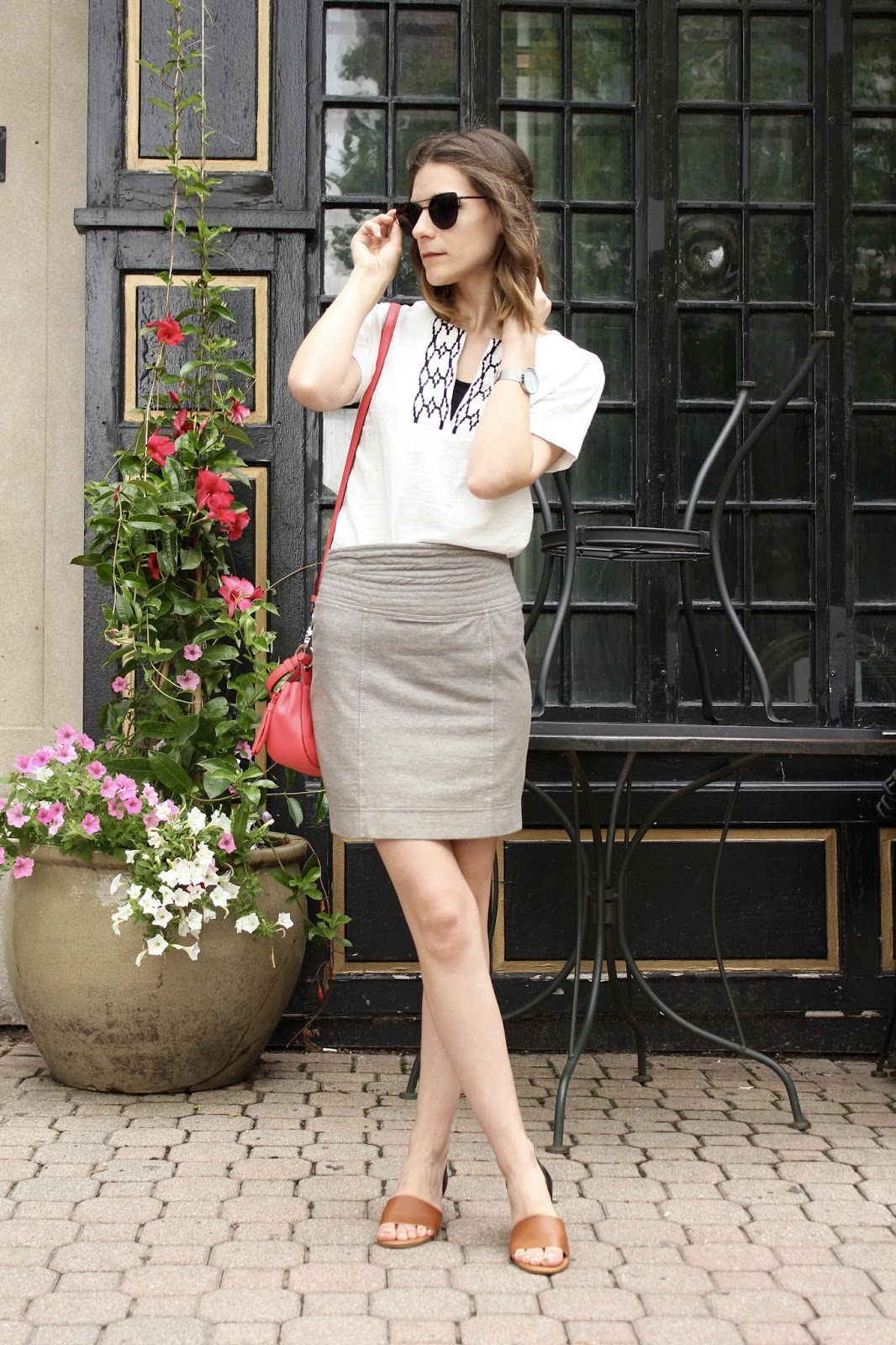 casual t-shirt paired with a pencil skirt