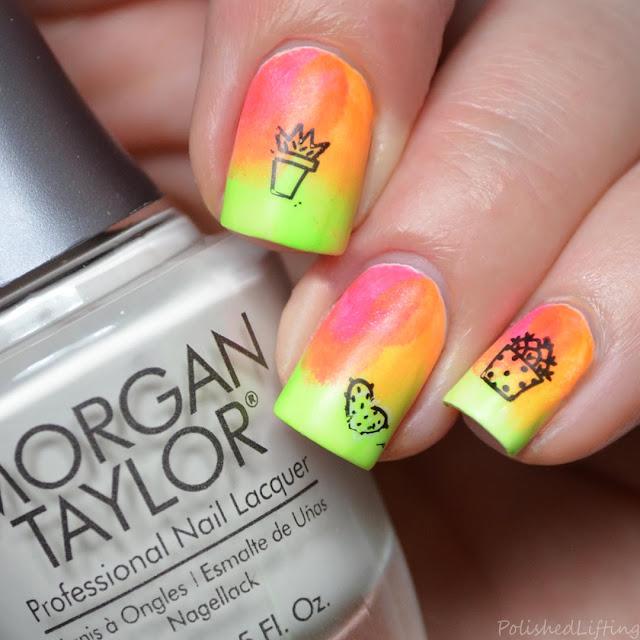 cactus gradient nail art