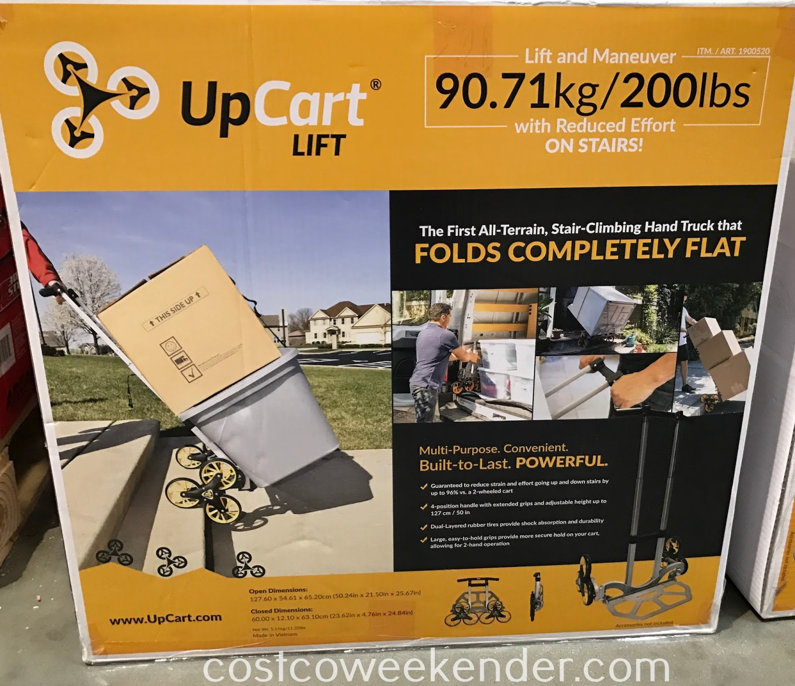 Easily move heavy items with the UpCart Lift Stair-Climbing Hand Truck