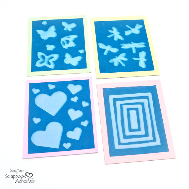 Blue Tone Cyanotype Sun Prints Made with 3D Foam Shapes with Neon Matting