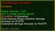 naruto castle defense 6.0 Naruto First Hokage's necklace detail