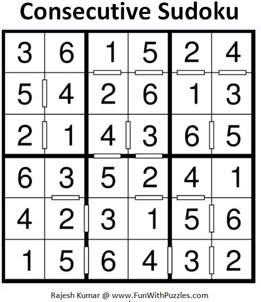 Consecutive Sudoku (Mini Sudoku Series #88) Solution