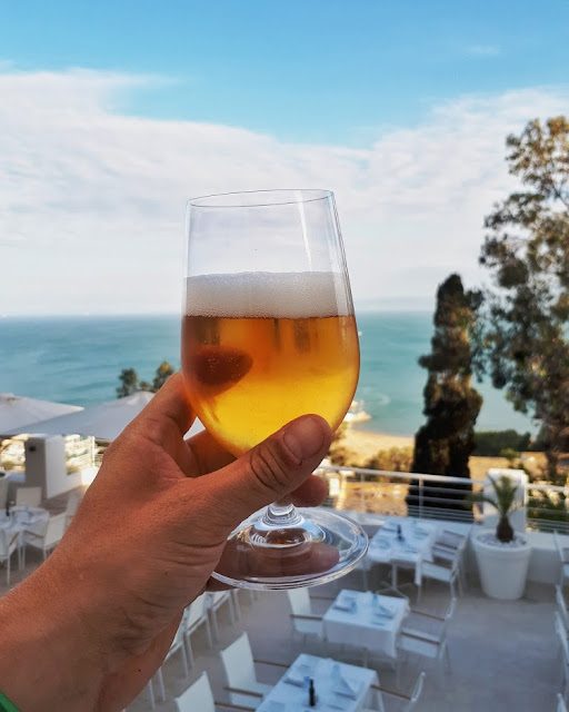 a beer in Sidi Bou Said in Tunisia