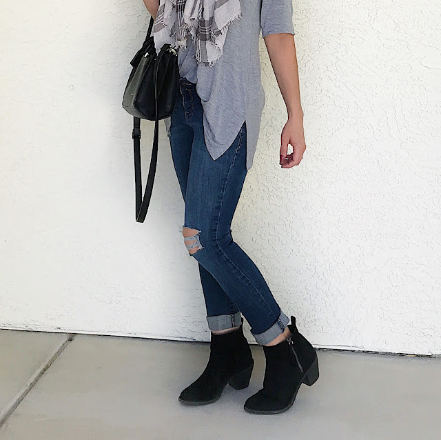 Thrifty Wife, Happy Life- Distressed jeans and black ankle boots