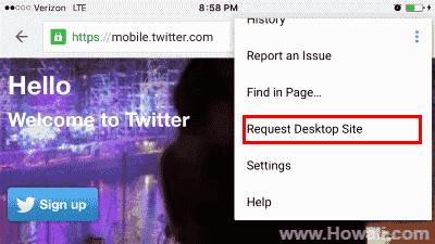 How to view Twitter Desktop Site on iPhone
