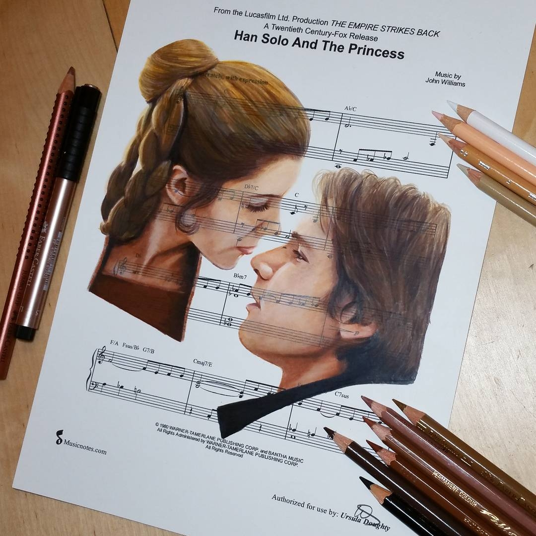 01-Han-Solo-and-Princess-Leia-Star-Wars-Ursula-Doughty-Animated-Movies-Drawn-on-their-Music-Scores-www-designstack-co