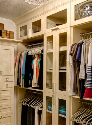 Opting for uniform hangers will make your small walk-in wardrobe instantly look neater and less cluttered.