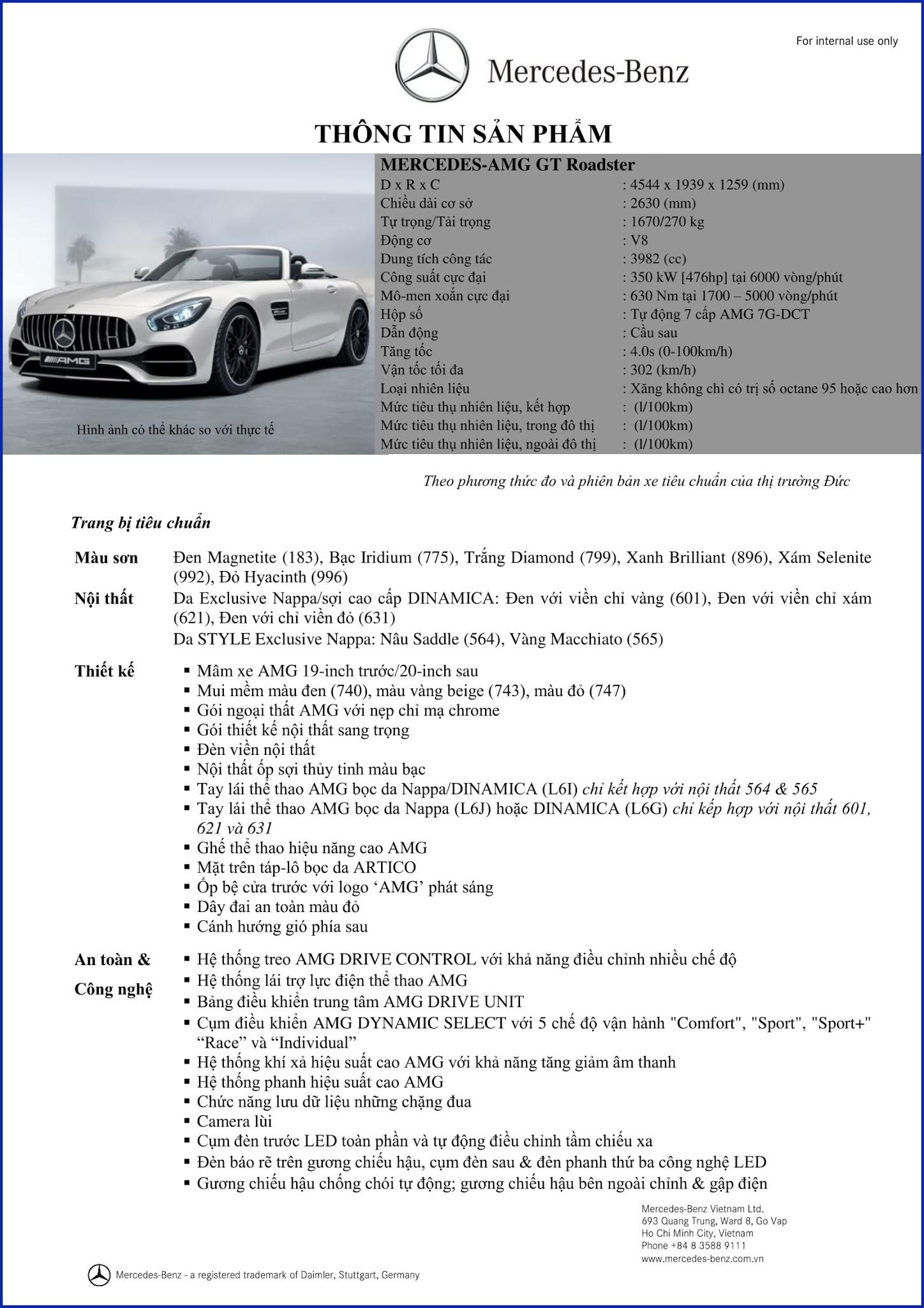 Bảng thông số kỹ thuật Mercedes AMG GT Roadster 2018 tại Mercedes Trường Chinh
