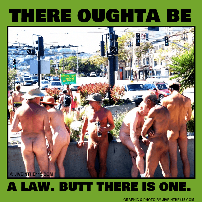 A group of gay elderly naked guys gather at the intersection of Castro Street and Market Street on Saturday September 28, 2013, to protest the ban on public nudity. photo by jiveinthe415.com